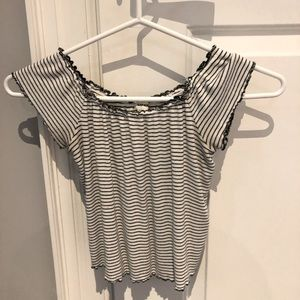 Garage off the shoulder striped top